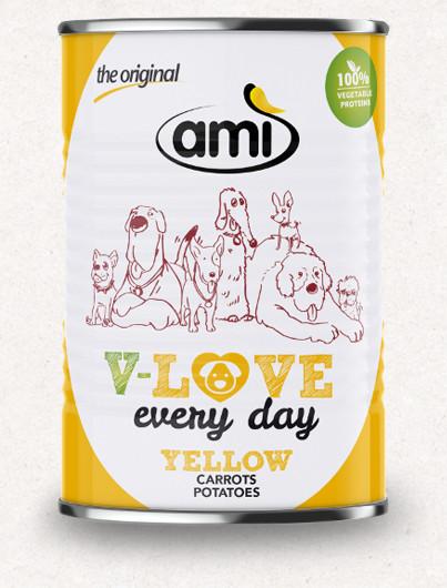 Ami V-Love YELLOW vegán nedvestáp kutyáknak 400 g